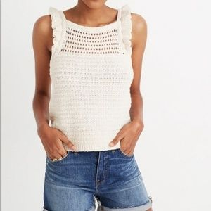 Madewell Ruffled Crochet Sweater Tank Size XS